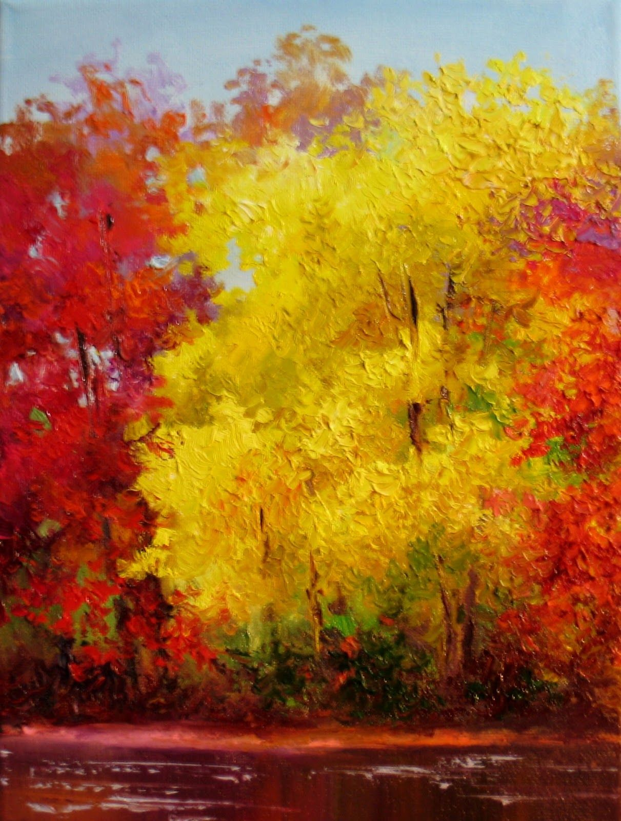 Yellow Red Autumn Painting Fall Tree Painting Fall Canvas Painting