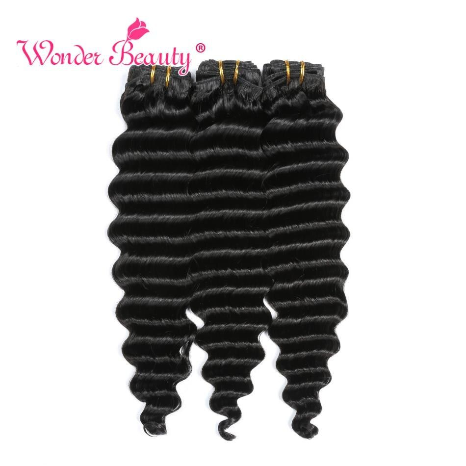 Deep Wave Bundles Wonder Beauty 100% Human Hair Extension Non Remy Hair 8-30 Inches Natural Color Brazilian Hair Weave Bundles #humanhairextensions