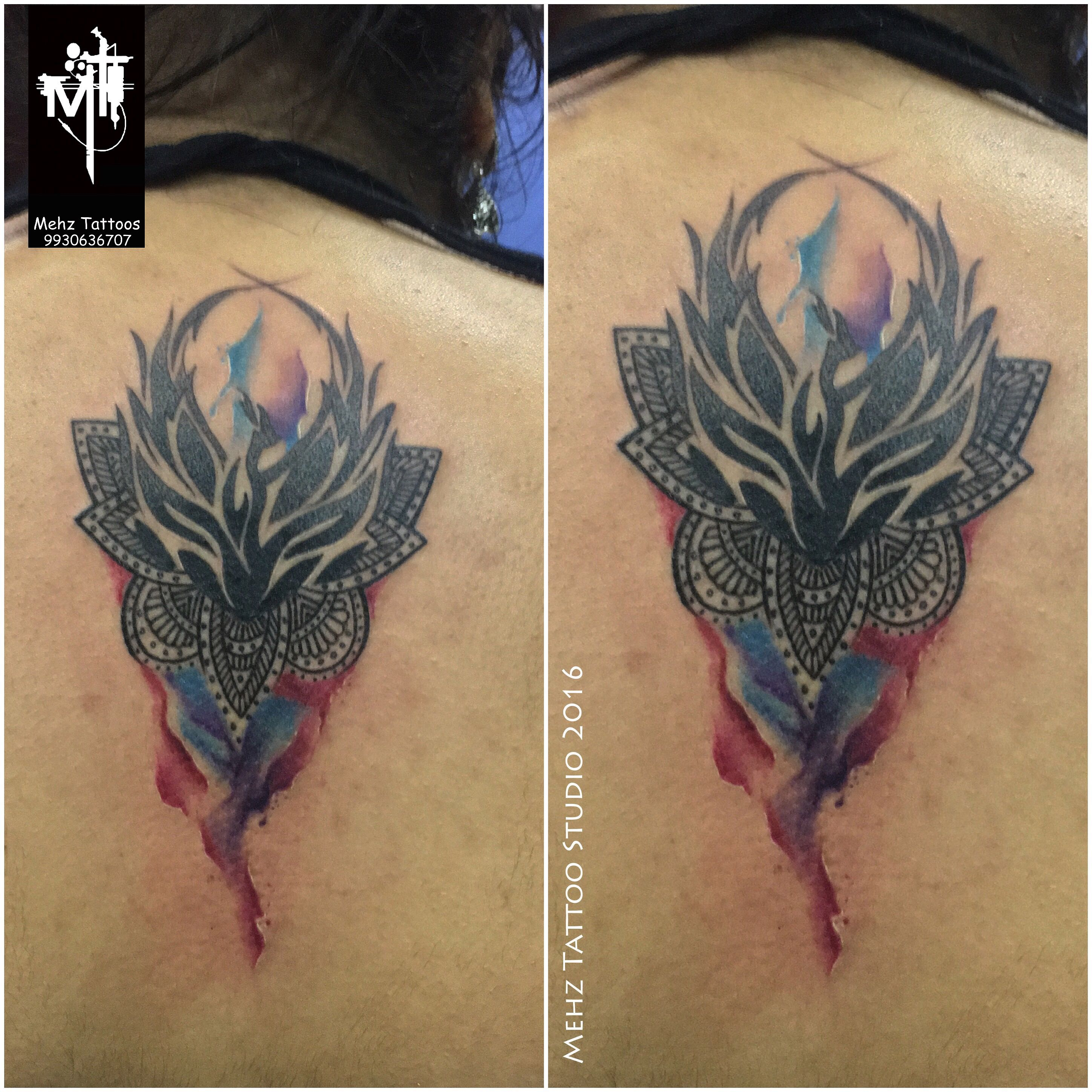 Customized Watercolor Phoenix with Mandala Tattoo done by Mahesh Amin at Mehz Tattoo Studio.  Hope you guys like this too :) Your Views, Comments and Shares would be appreciated !