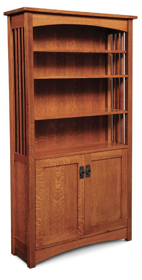 Mission Bookcase, Wood Doors on Bottom from Simply Amish furniture