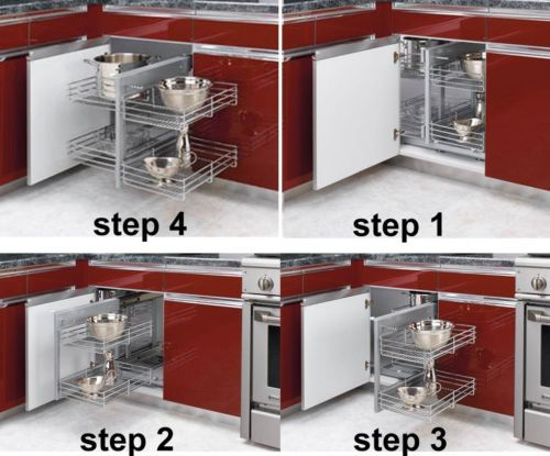 Revashelf 5psp 15 Chrome Blind Corner Kitchen Cabinet Organizer Pullout Baskets Ebay