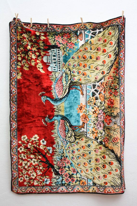 Large Vintage Peacock Tapestry Retro Wall Hanging Double Peacock Rug Tapestry Peacock Decor Wall Hanging