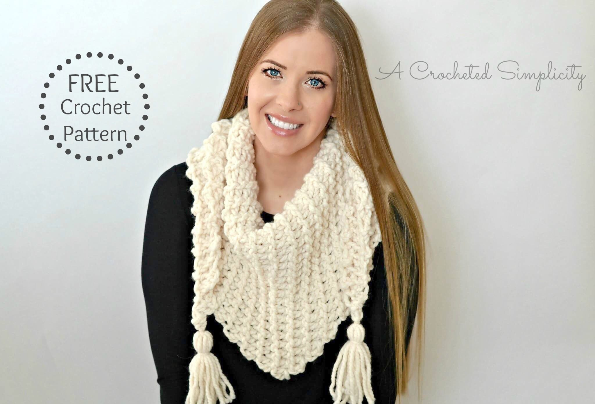 Free Crochet Pattern - Abella Triangular Scarf | Patrones mujer ...