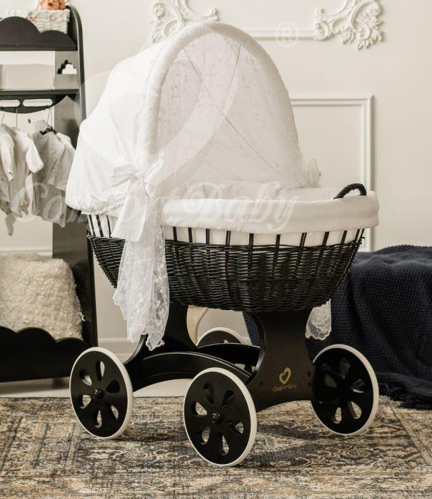 WALDIN Baby Bollerwagen,Stubenwagen,komplett mit Zubehör,Stoffe Weiß//Sterne-grau