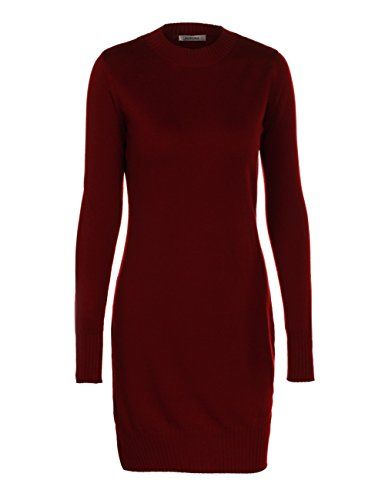 f7b6635f2e1 ADAMARIS Women Crew Neck Slim Fit Long Sweater Dress Knit Top ...