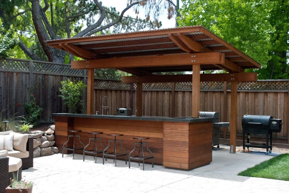 Patio ideas patio contemporary with outdoor kitchen corrugated metal