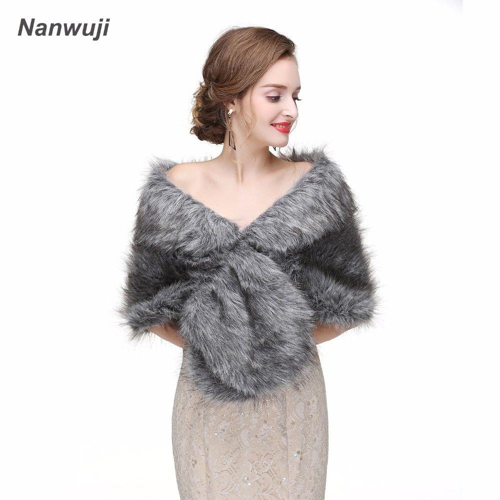 ffbb9bb11d7 2018 Bridal Wraps Bolero Faux Fur For Wedding Evening Party Prom ...