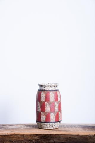 Kat & Roger Rounded Vase in Red & White