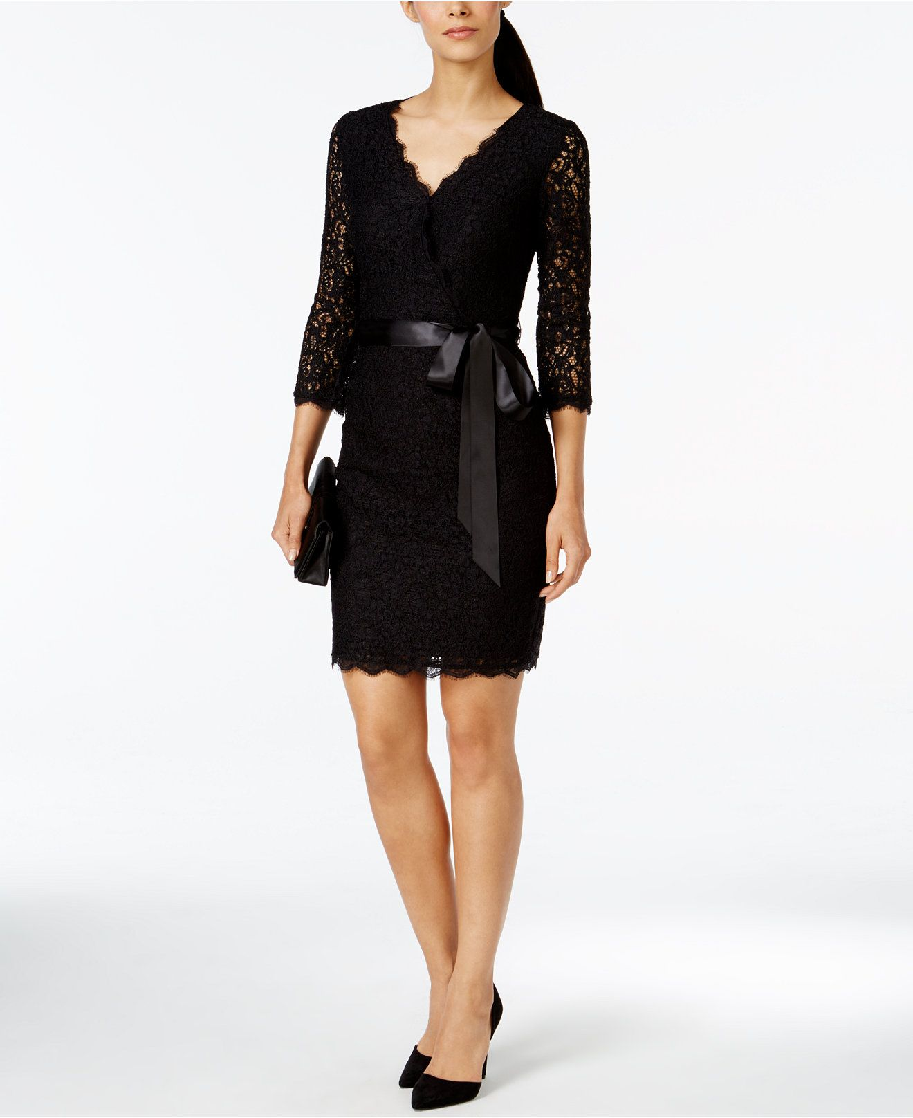 Adrianna Papell Lace Faux Wrap Belted Dress Dresses Women