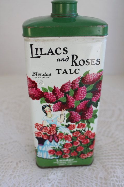 Vintage Lander White Pink Green Lilacs & Roses Talc by PeggysTrove, $55.00
