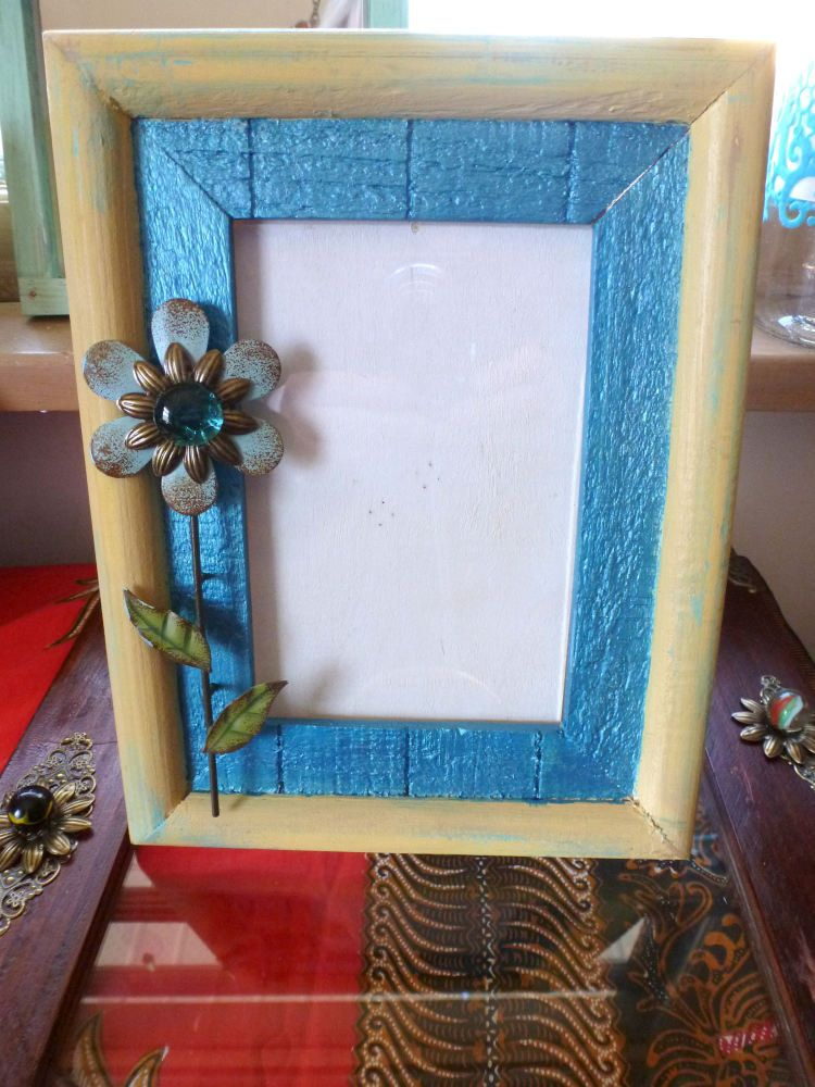 Teal & Yellow with a Flower, Wood Photo Frame, Free Standing Picture ...