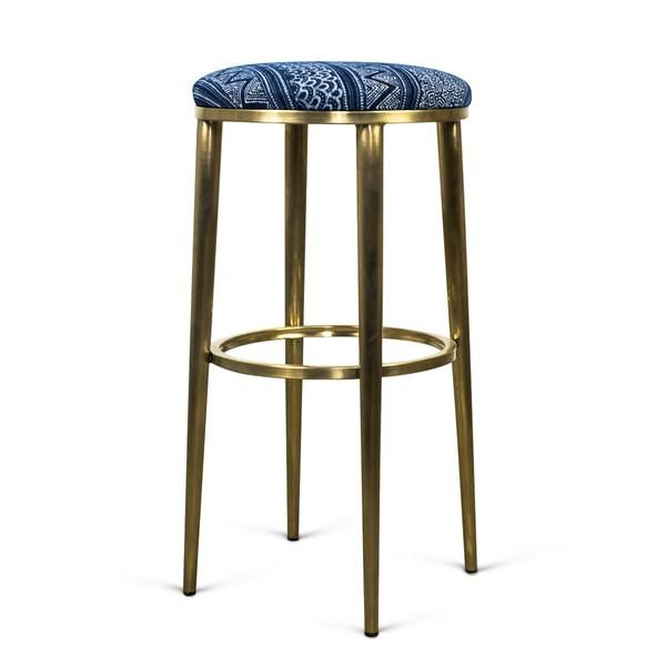 Cape Town Bar Stool In Hand Printed Indigo Mud Cloth Bar Stools Stool Rustic Stools