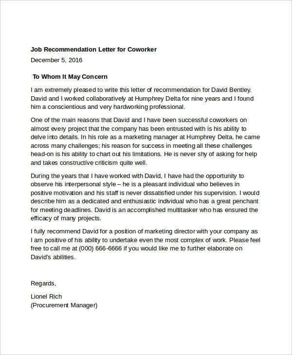11  coworker recommendation letter templates