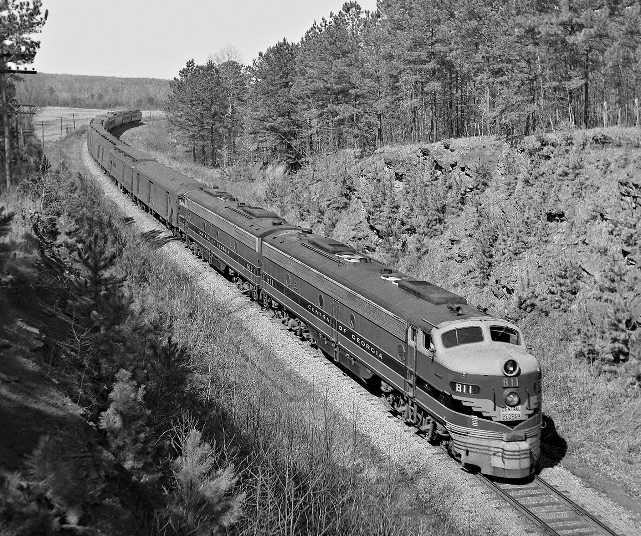 Alabama Car Tags >> CG, Opelika, Alabama, 1954 Southbound Central of Georgia Railway Seminole passenger train dives ...