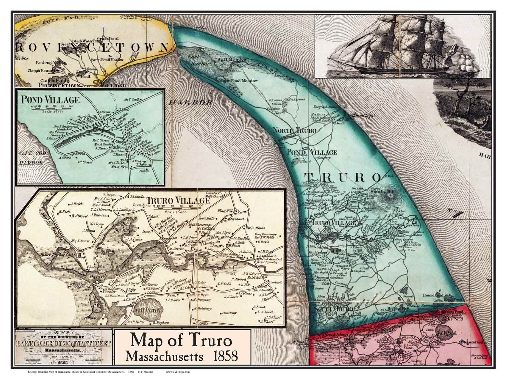 Map of Truro MA from 1858 Truro Cape Cod Pinterest Truro