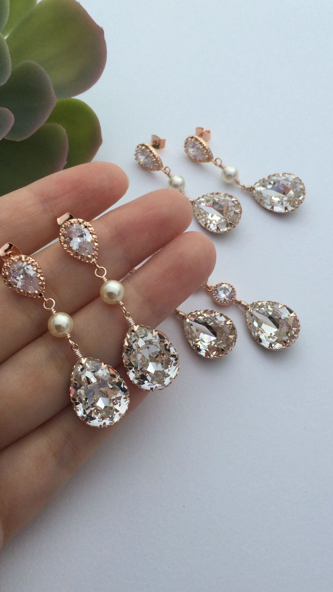 48173cf76 Bridal earrings from Earringsnation rose gold earrings blush wedding rose  gold wedding garden weddings