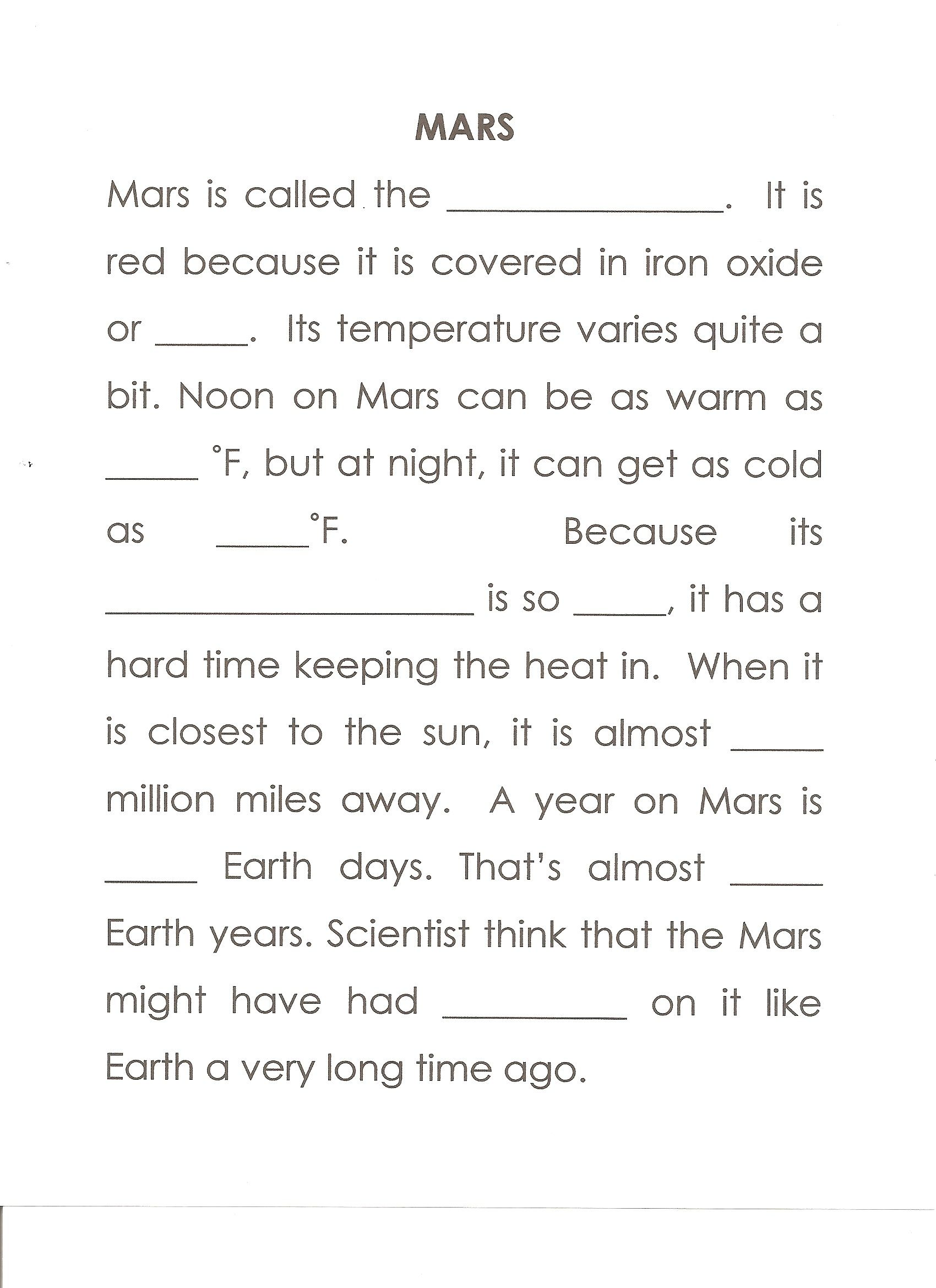 small resolution of Mars Worksheet Answers: red planet