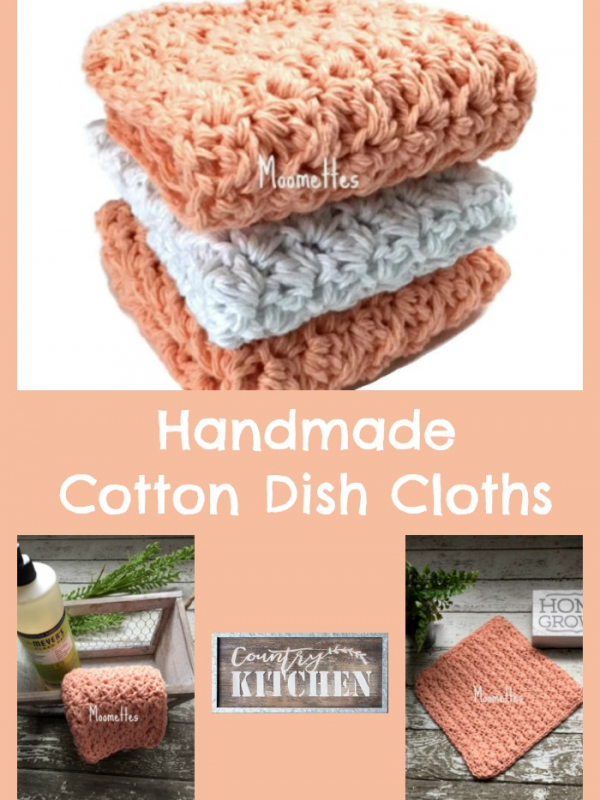 Cotton Kitchen Dish Cloths Peach Coral White Shabby Chic Farmhouse