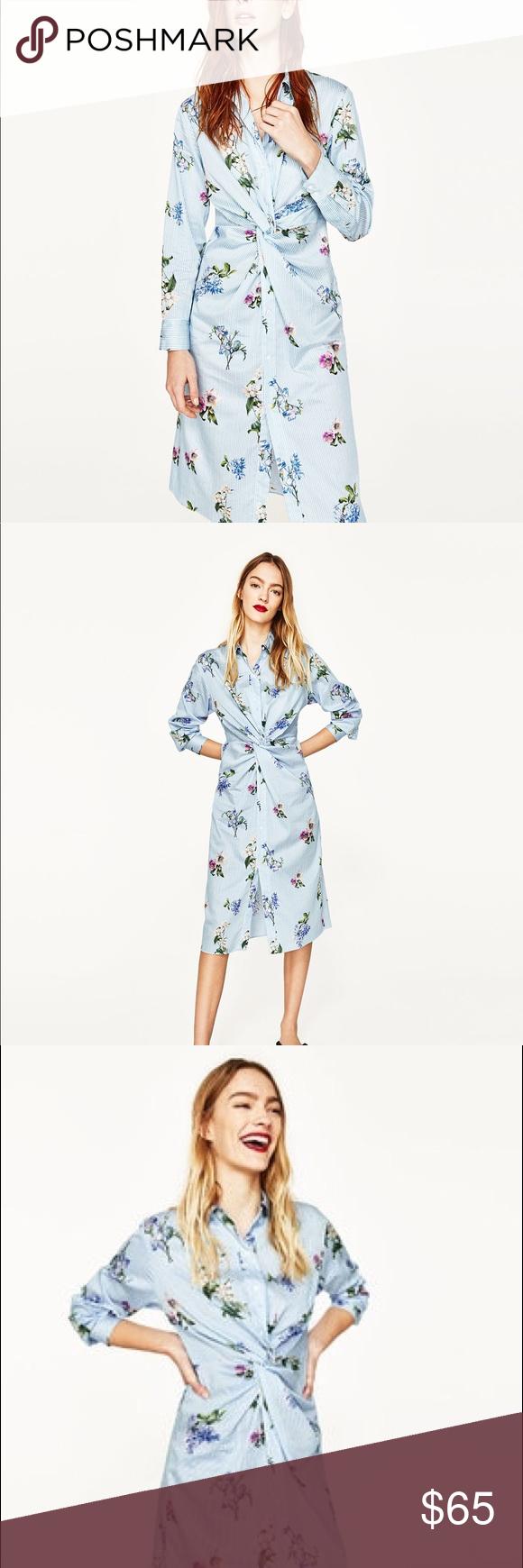 Nwt Zara Knotted Floral Striped Shirt Dress Nwt My Posh Picks