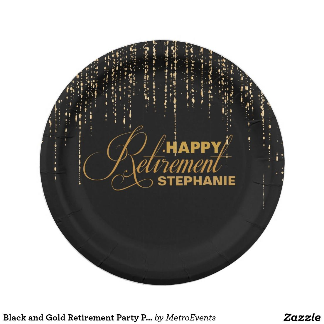 Black and Gold Retirement Party Plates  sc 1 st  Pinterest & Black and Gold Retirement Party Plates   Custom Party PAPER PLATES ...