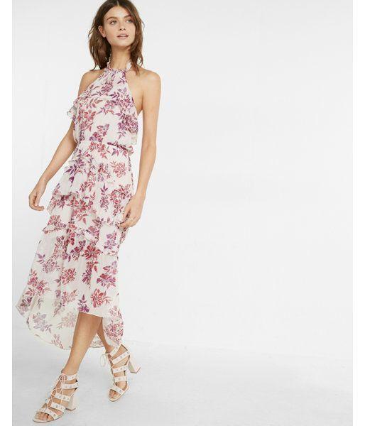 4843a108235b Petite Floral Print Tiered Halter Neck Midi Dress Floral Print Women's M  Petite