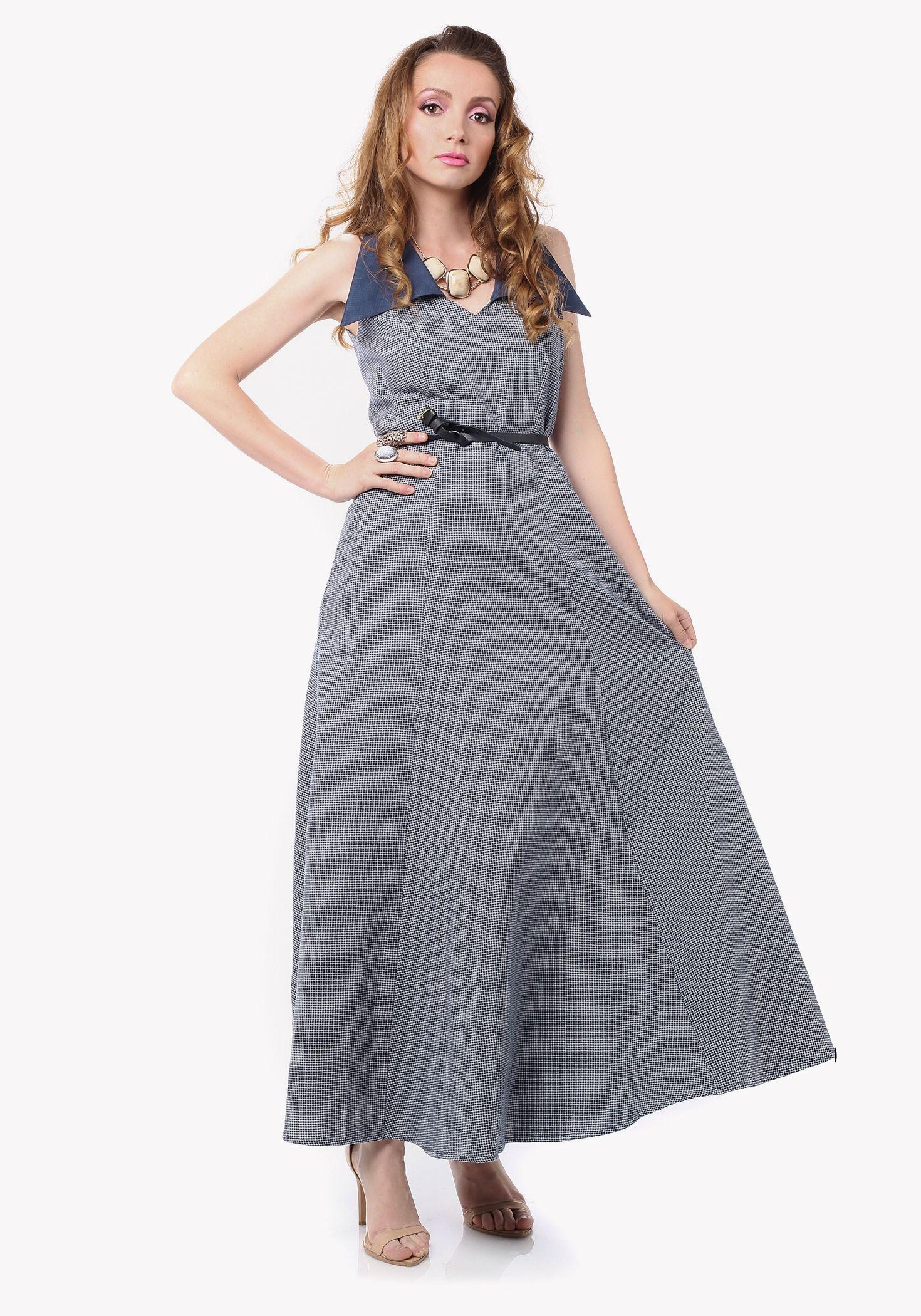 Grey Checked Maxi Dress - £69 http://www.ker-i.com/products/grey-checked-maxi-dress