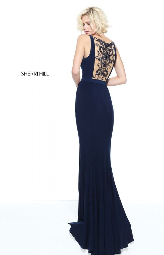 51096 - SHERRI HILL Fitted jersey with a sheer beaded back.  New Braunfels Austin  San Antonio Prom Black Dress Prom Shop