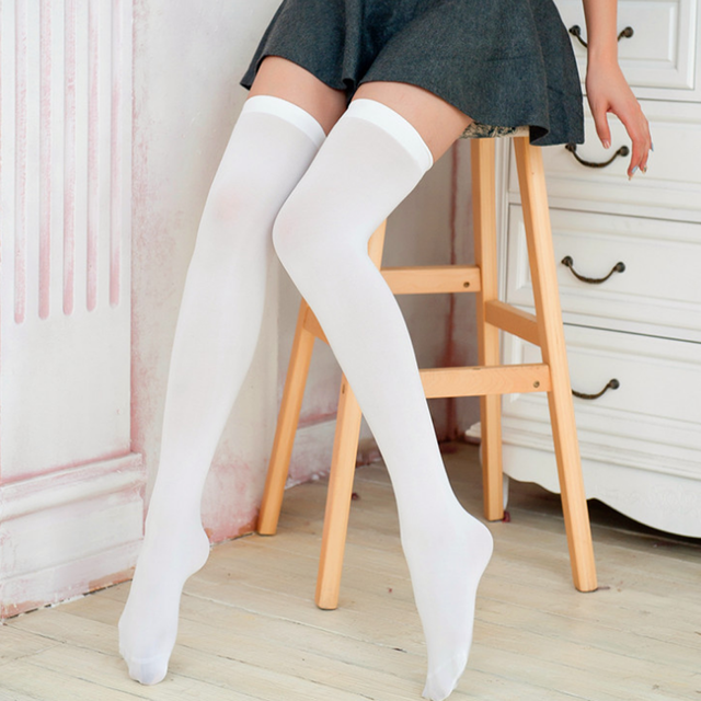 d9858dbb93 2017 New Fashion High Socks Solid Color Stockings Sexy Stocking Overknees  Over The Knee Socks Women Stockings For Women 5 Colors