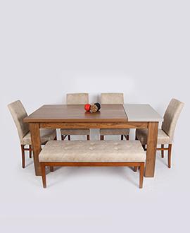 طقم طاولة الطعام ذات وحده تخزين للأواني واربع كراسي مع أريكة اثاث منزلي اثاث خشبي ديكور ديكورات طاولات طعام طاو Dining Table Home Decor Dining Bench
