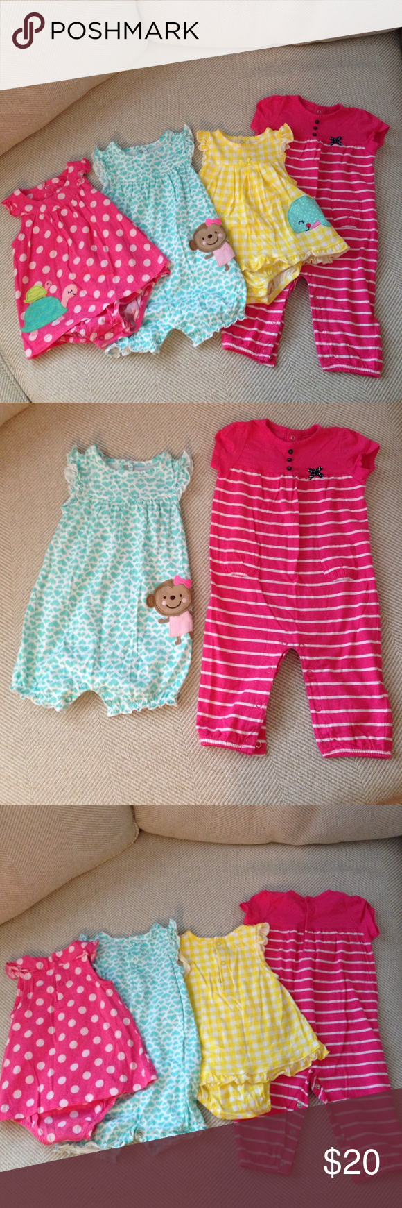 Baby Girl 12 Month Summer - 4 outfits 4 summer outfits for baby girl, all 4 are 12 month size.  All in great condition, no stains and only worn a few times.  Dress onesies Carters Child of Mine. Pink one piece Carters.  Blue one piece Just One You Carters. Carter's One Pieces Bodysuits