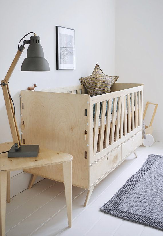 NEST customized handmade plywood baby crib / movable levels of ...