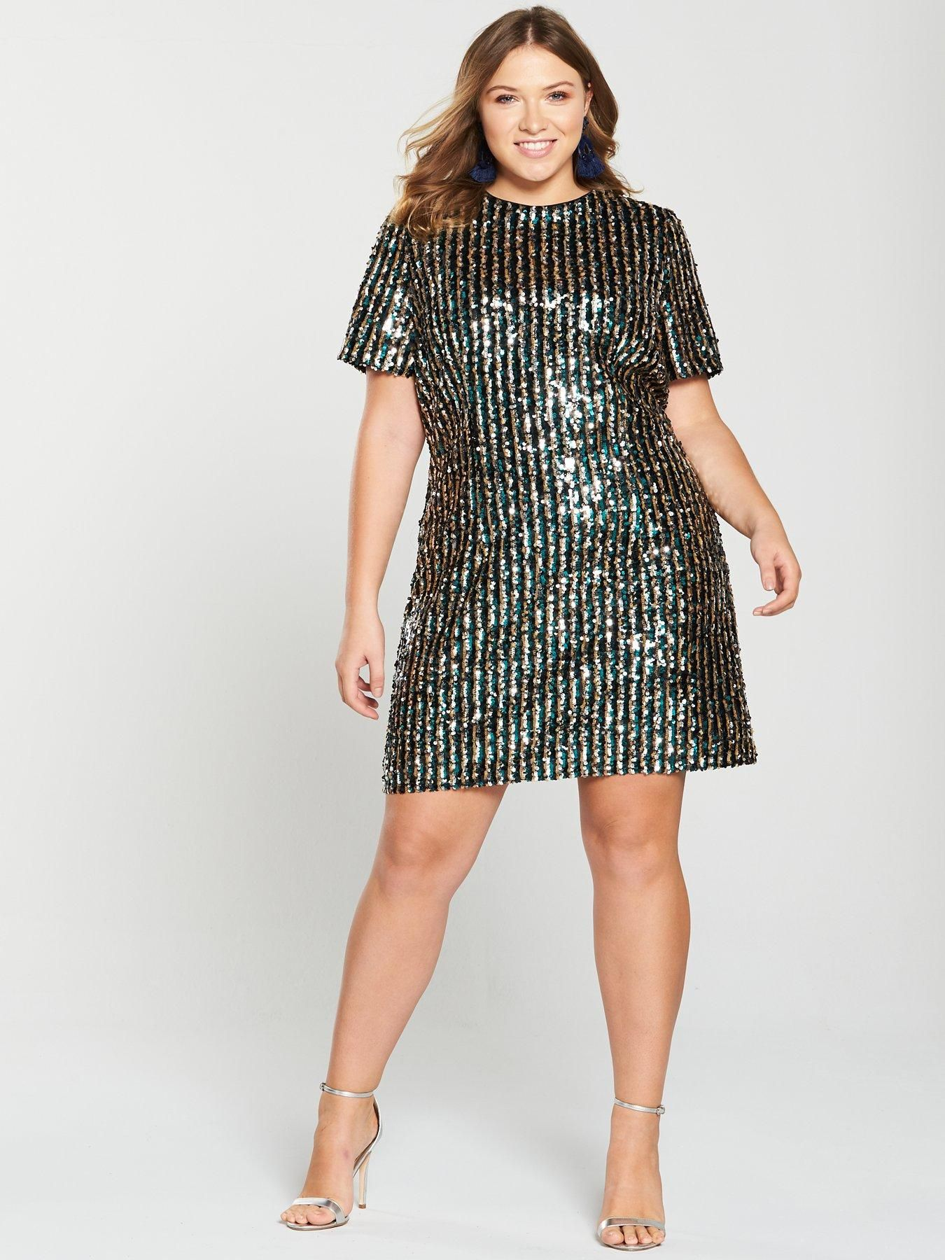 5cce4649f95d V by Very Curve Stripe Sequin Tunic Dress