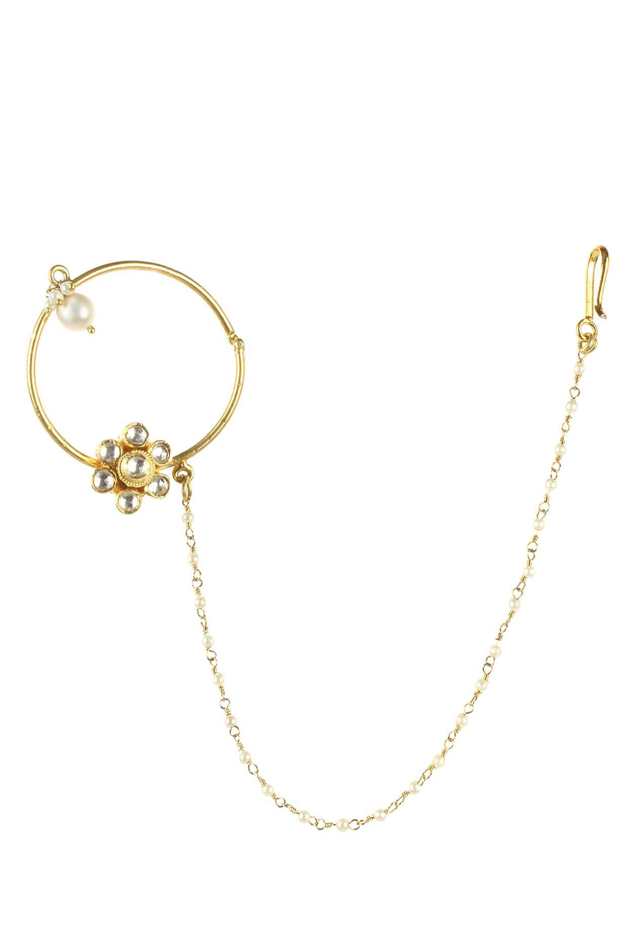 Gold Finish White Sapphire And Kundan Nath Nose Ring By Art Karat