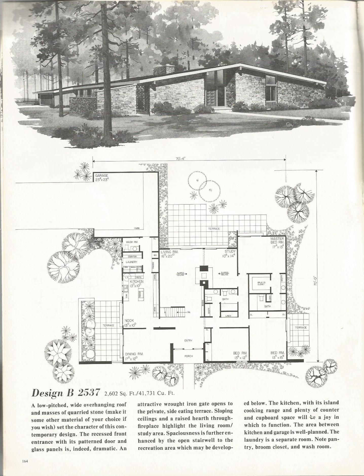 Vintage House Plans 2537 Mid Century Modern House Plans Modern House Plans Modern Floor Plans