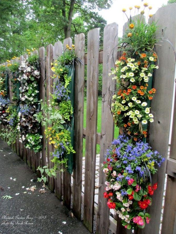 Good Vertical Hanging Flower Planter Garden Fence Decor 20 Backyard Fence  Decoration Makeover DIY Ideas