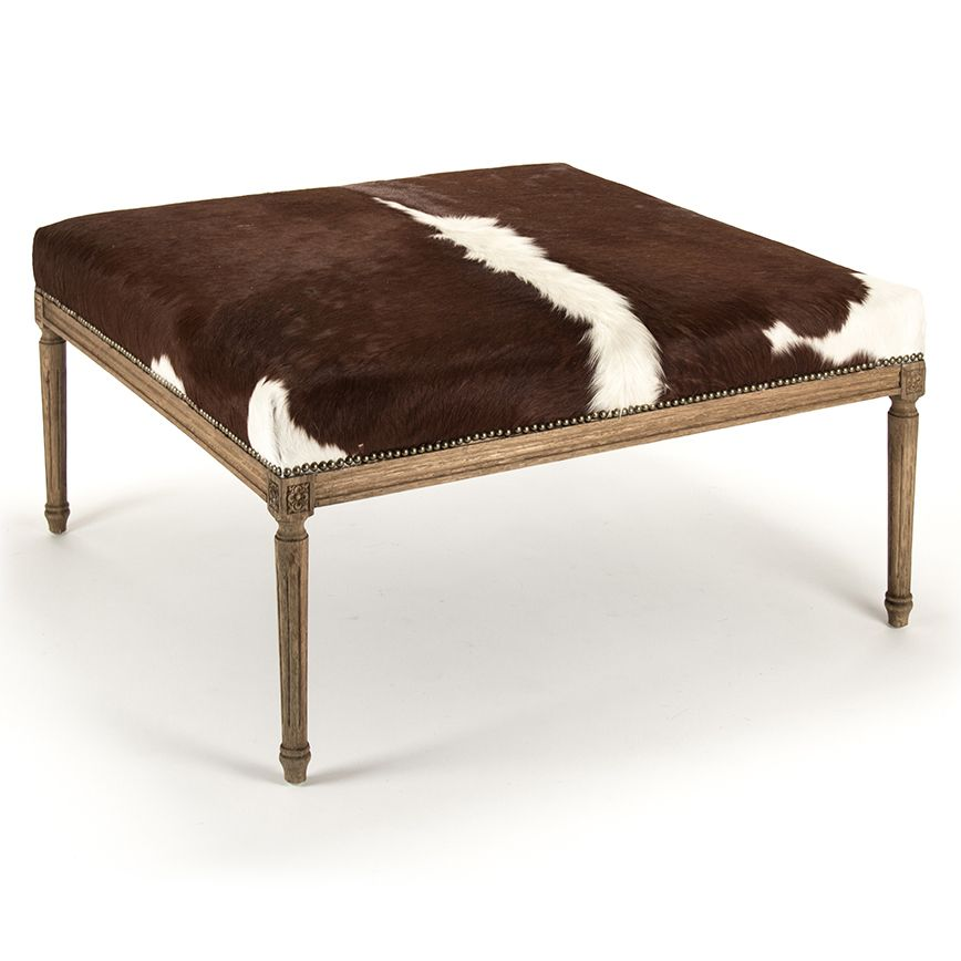 French Cowhide Ottoman   Canyon Manor