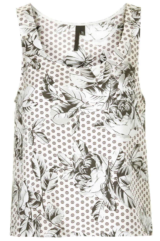Geo-Rose Print Silk Vest by Boutique - Topshop USA