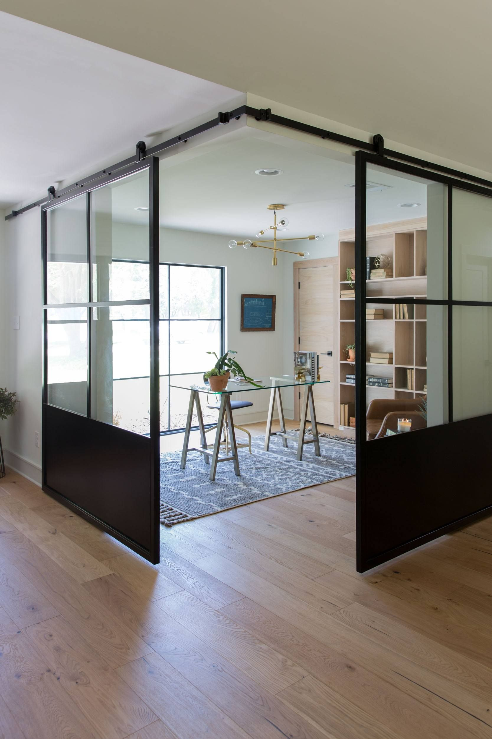 Episode 06 The Pick A Door House Magnolia Glass Office Doors Home Office Design Dining Room Windows