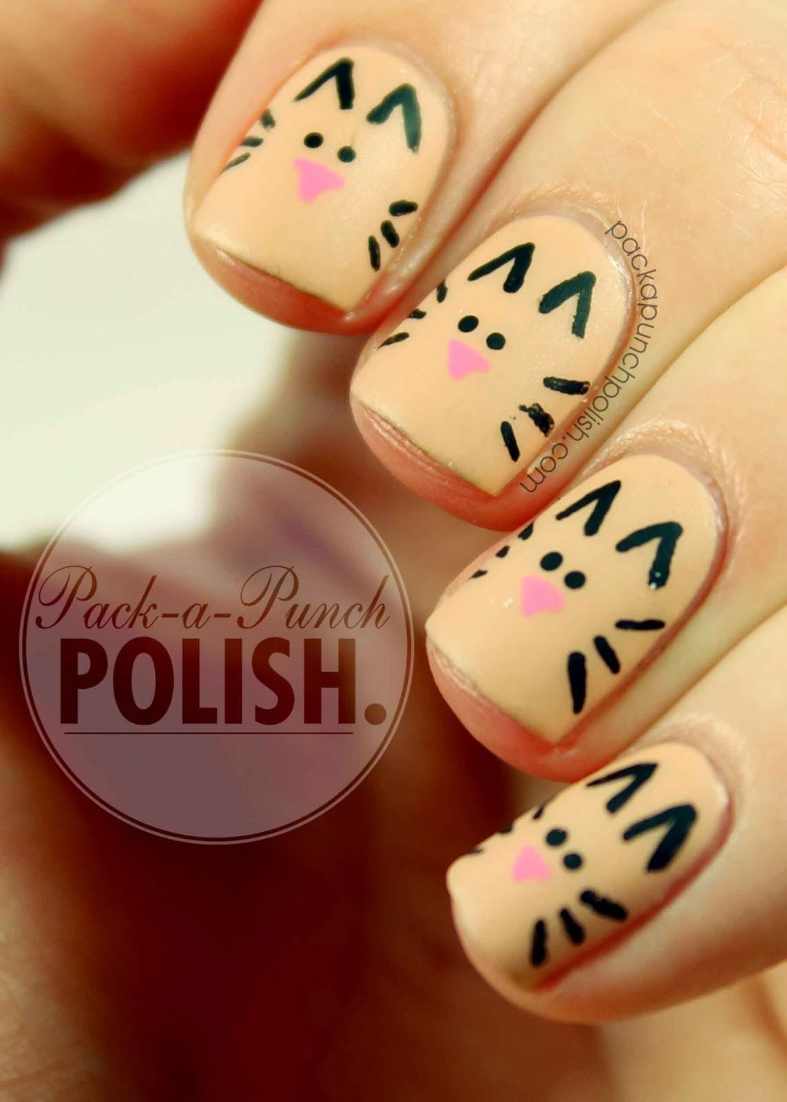 Packapunchpolish Simple And Cute Cat Nail Art Tutorial