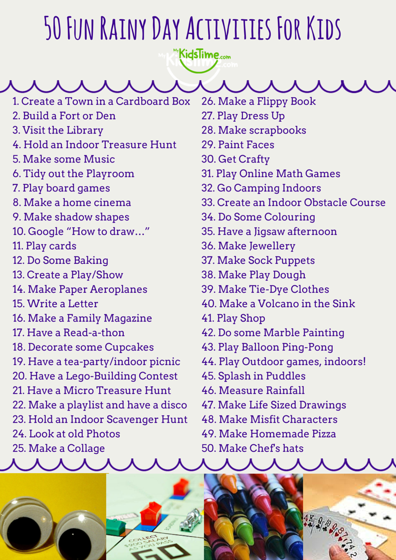 50 Fun Rainy Day Activities For Kids Checklist Fun rainy