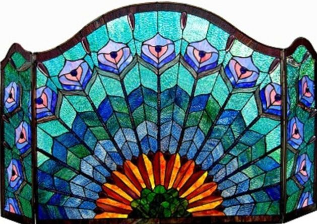 @Overstock.com.com.com.com - Tiffany-style peacock fireplace screen. The screen features a steel frame with a tiled glass peacock design done in stunning shades of blue, green, purple, and pink. Via Amanda McNamara.