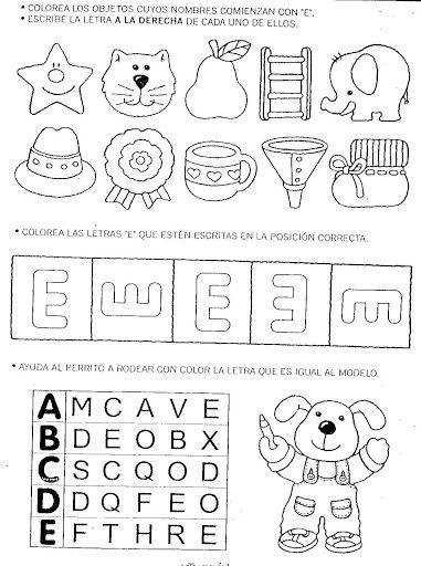 Actividades de la vocal E Láminas y fichas para realizar actividades ...
