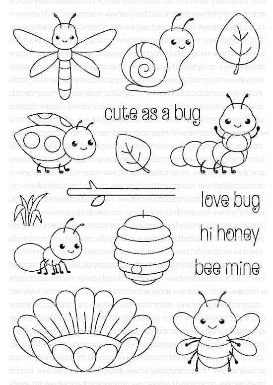 Clearly Besotted CUTE AS A BUG Clear Stamp Set zoom image | kartki ...