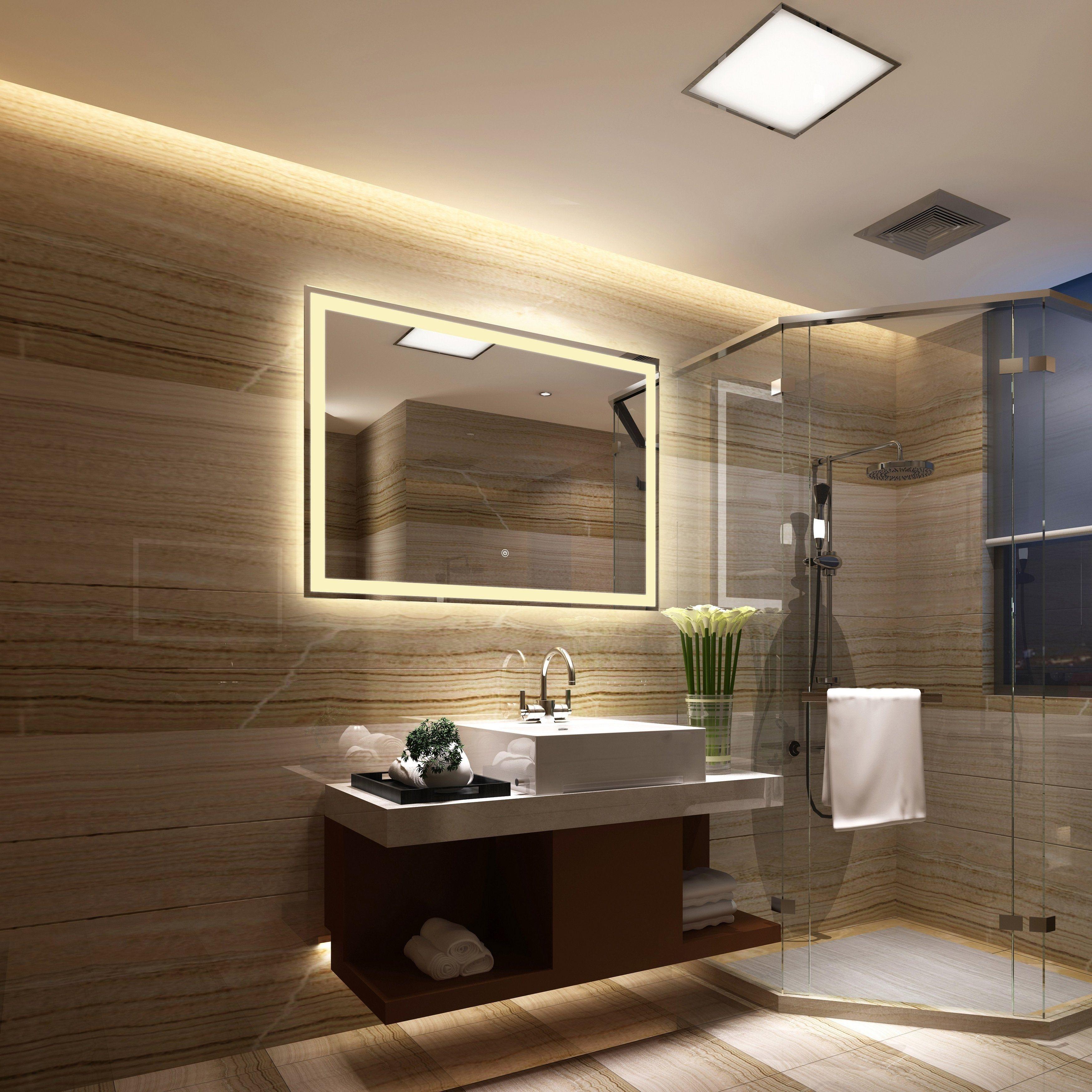 Frameless Wall Mounted Led Bathroom Mirror White Led Mirror Bathroom Bathroom Interior Design Bathroom Interior [ 3500 x 3500 Pixel ]