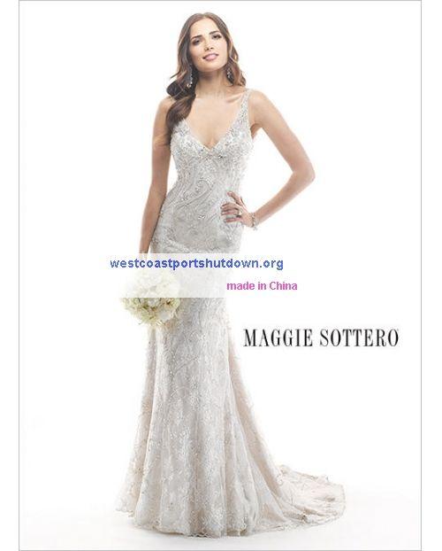 dazzling beads spiral down lace sheath Straps Maggie Sottero Hazel ...