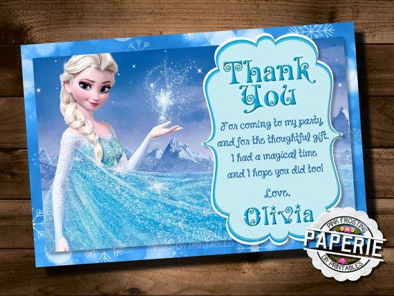 Frozen Printable Thank You Card Custom Frozen Invitation For Etsy Frozen Invitations Printable Thank You Cards Frozen Printables