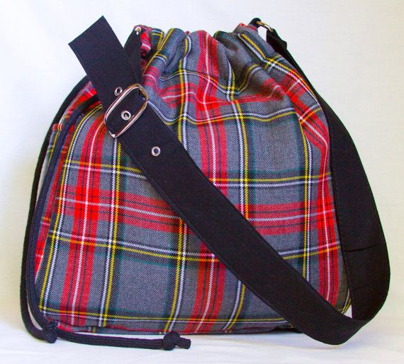 20% OFF EVERYTHING - Upcycled Red Plaid Drawstring Hobo Bag, the 'Paige'. $30.00, via Etsy.
