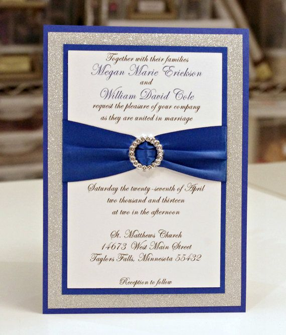 Stunning Diy Royal Blue Silver Glitter Wedding Invitation Full Of Bling