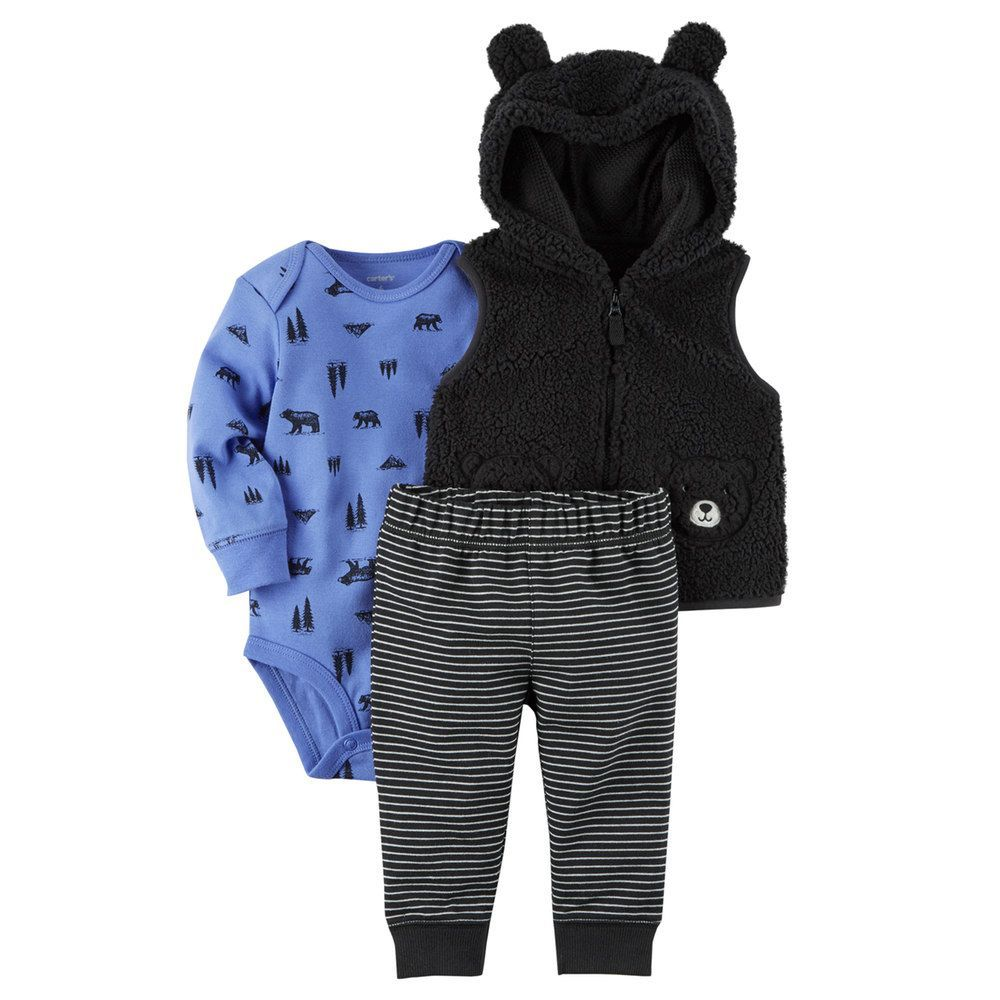 a76bbabb8 Baby Boy Carter s 3D Ears Plush Black Bear Vest