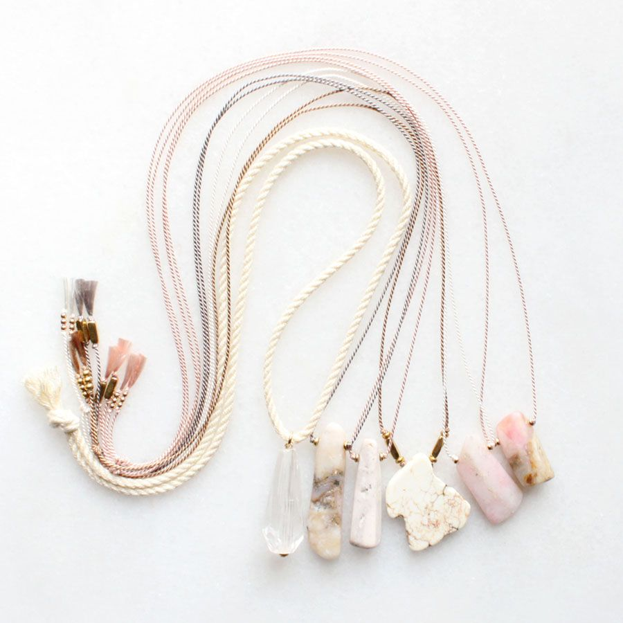 Rope and silk necklaces with quartz, opal and magnesite ...